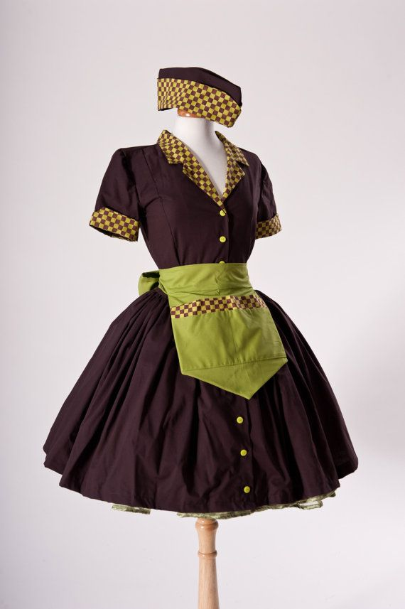 Zombie Car Hop Costume Retro 50s Waitress Dress Apron and Hat Brown Lime Green Pinup Pin Up ...