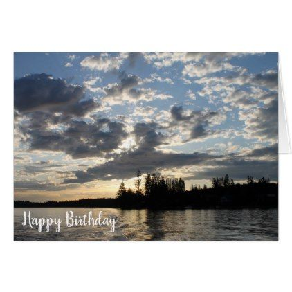 Sunset on the Lake Birthday Card - rustic gifts ideas customize personalize