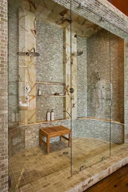 Master Bathroom: Love The Big Shower With Double Shower Heads!