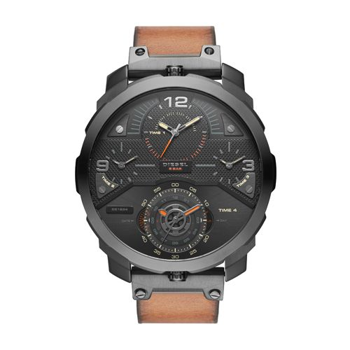 Diesel Mens Brown Leather Strap Black Dial Black Watch - DZ7359
