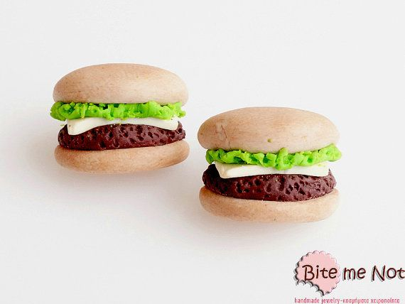 Mini Food Burgers Studs Cheeseburger Earrings Fast by BiteMeNot