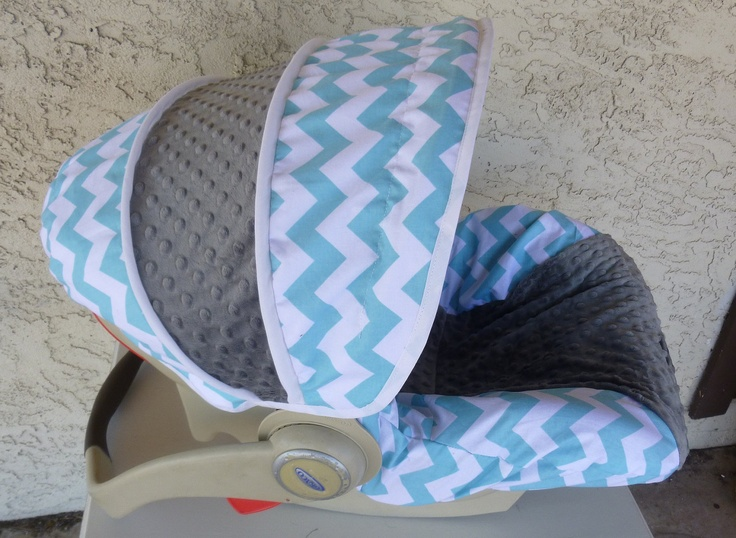 Baby Car Seat Cover Aqua Chevron With Charcoal Cars