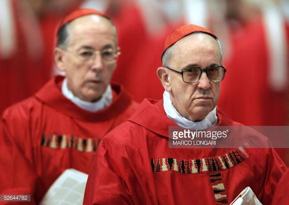 Argentina's cardinal Jorge Mario Bergoglio and Preu's Cardinal Juan Luis Cipriani Thorne attend the special 'pro eligendo summo pontifice ' mass presided over by German Cardinal Joseph Ratzinger at...