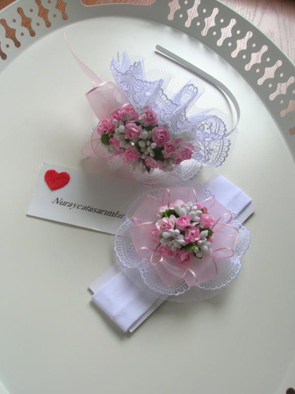 Pembe Çiçekli Lohusa Taç - Saç Bandı Seti