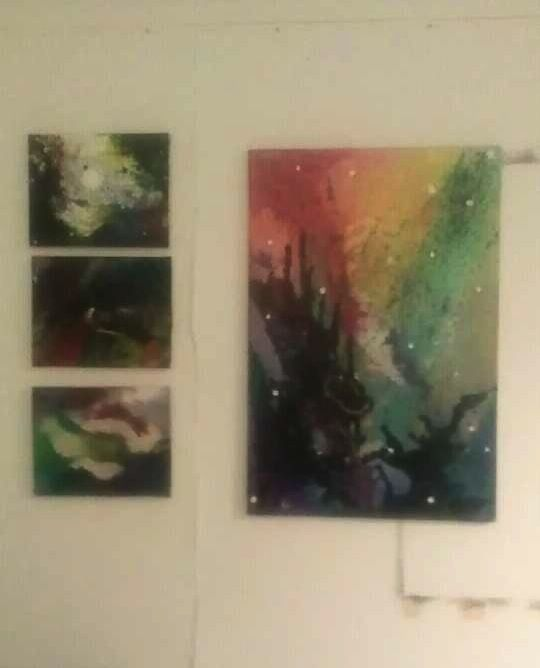 Space inspired works. All poured acrylic, inks, and glaze.
