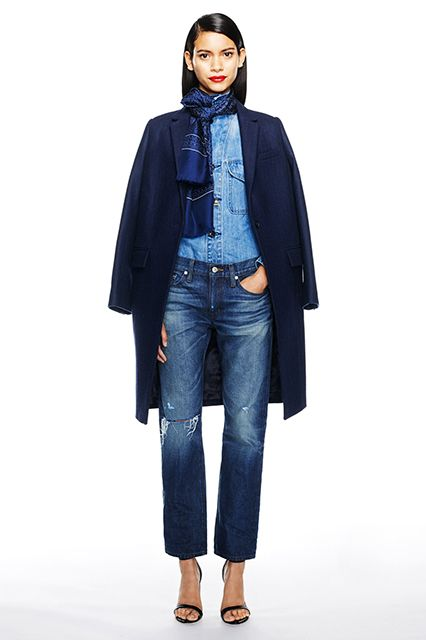 """10 Fashion Myths To Stop Believing Now #refinery29 http://www.refinery29.com/fashion-dont-myths#slide2 Double Denim At this point, the """"skinny jeans and light chambray shirt"""" combo is common enough to not prompt Canadian tuxedo jokes. But, don't be afraid to add some dimension to your denim when trying the look. A faded, wider-leg jean and rugged denim top look cool on their own, and paired with a sleek heel and coat, we guarantee no one will mistake you for a ranch hand."""