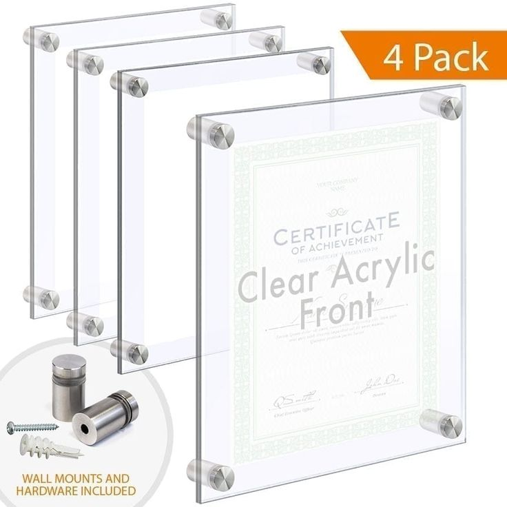 Economy Clear Acrylic Wall Frames Wall Mounted On Standoffs In 2020 Floating Acrylic Frame Wall Frames Frames On Wall