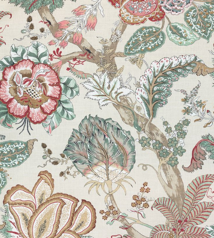 Anna French Kalamkari Red and Gold Fabric AF78741