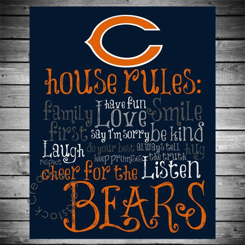 Chicago Bears House Rules 8x10 Printable by CreativeCardstock, $12.50