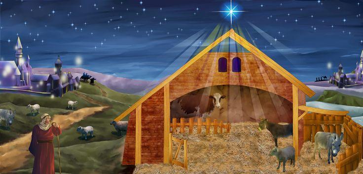 Manger Scene Backdrops Nativity Backdrop Size 120cm X