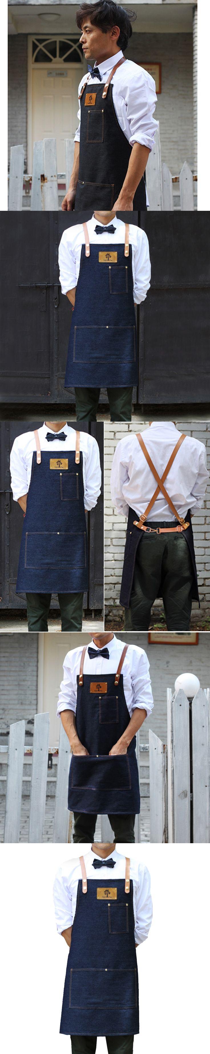Senior Denim cowboy BBQ Apron Bib Leather Straps Kitchen Apron for Women Men House cooking Restaurant Waitress Custom Print Logo