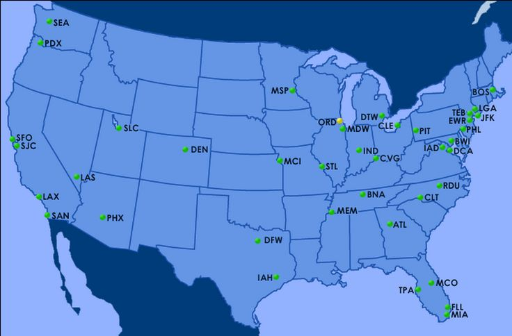 Flight delay status at major commercial airports, maintained by the FAA.