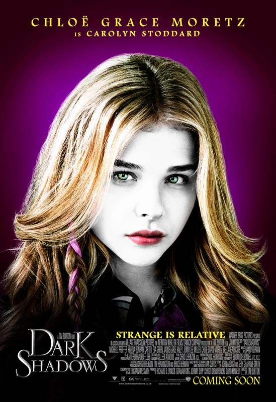 New Character Posters for Dark Shadows. Chloe Grace Moretz is Carolyn Stoddard. Opens May 11, 2012