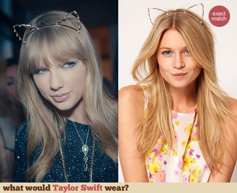 """Taylor Swift's cat ears headband on the """"22"""" film clip.  Outfit details: http://wwtaylorw.com/2617/"""