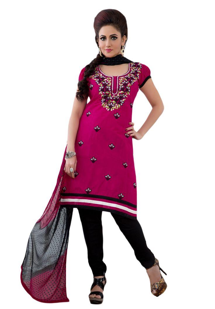 #Pink #Black #Dresmaterail #Casualwear #Officewear #Occasionalwear buy at salwarstudio.com