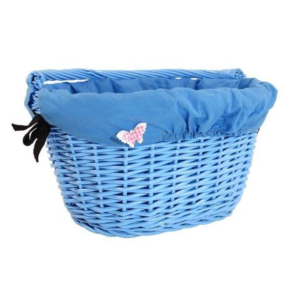 Wiklinowy kosz na rower błękitny z  niebieskim obszyciem + motylek