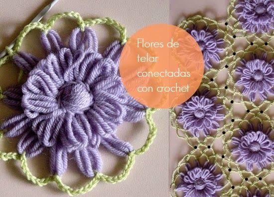 Flores de telar conectadas con cadeneta de crochet tutorial ༺✿ƬⱤღ http://www.pinterest.com/teretegui/✿༻