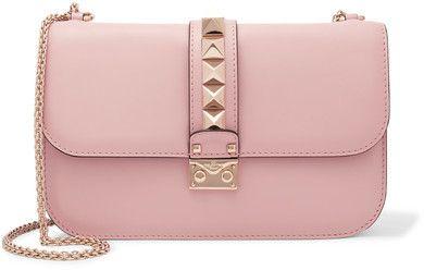 Valentino - Lock Medium Leather Shoulder Bag - Baby pink