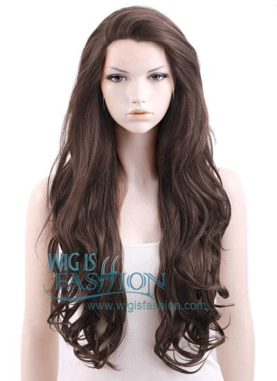 "26"" Long Wavy Dark Brown Lace Front Synthetic Wig"
