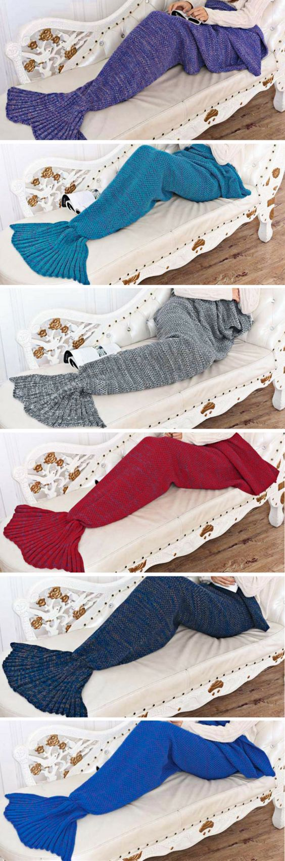 Type: Mermaid Tail Blanket Age Group: Adults, Teens, Kids Material: Wool, Acrylic Colors: Red, Dark Blue, Navy Blue, Light Blue, Gold, Gray, Purple Sizes: One