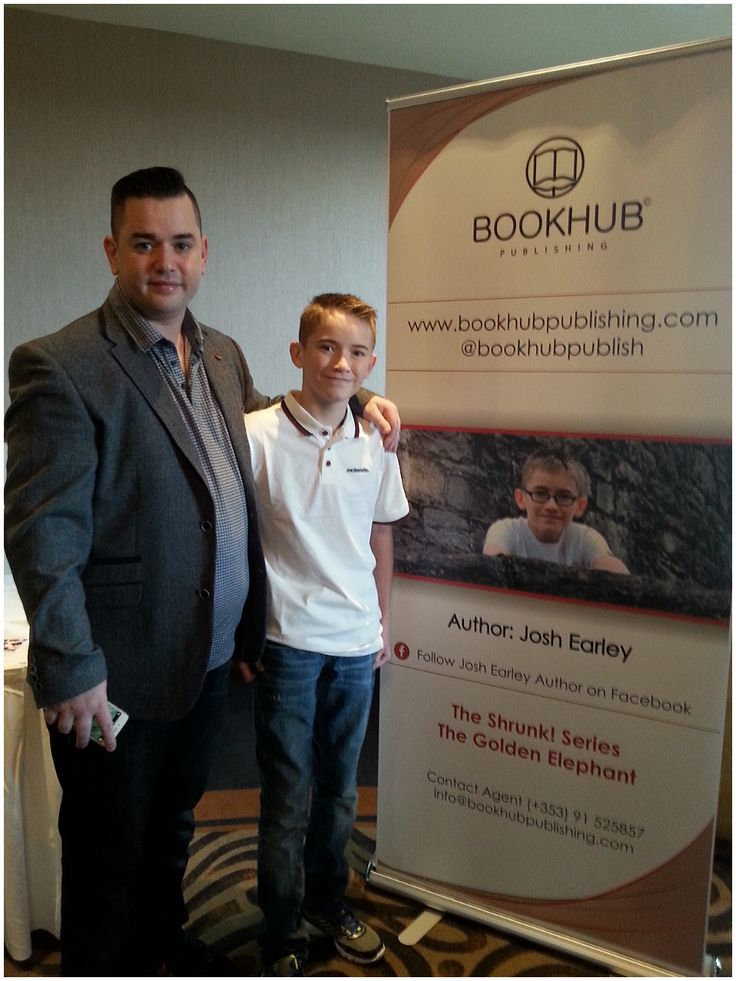 Proud Dad, Ivor Earley with his son, Josh Earley, at the launch of Josh's book, Shrunk! The Wasp Kingdom in Athlone, Ireland. November 2015.