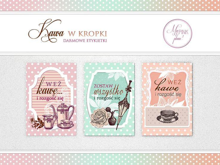 My Pink Plum!: Darmowe etykietki na bloga | Kawa w kropki