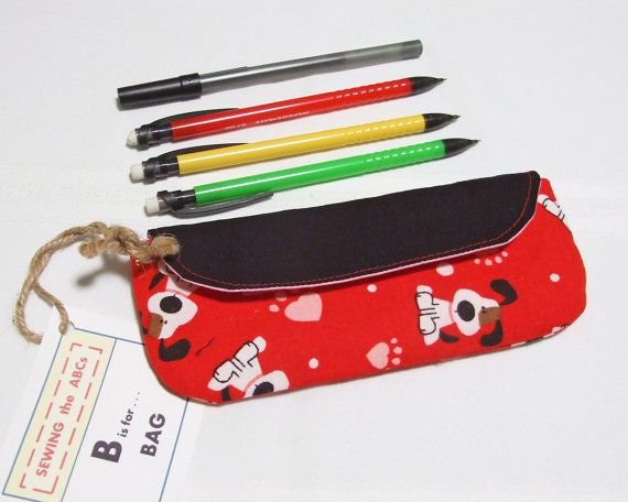 """VALENTINES Small Pencil Case """"I WOOF YOU"""" Red Fabric with Velcro Closure . . . $15 . . . Idea for Valentines Gift Giving . . . Fill it with a favorite candy  . . . #SEWINGtheABCs on #Etsy . . . #DogLoverGift #ValentinesGift #CutePencilCase #DogLover #Valentines #ValentinesDay #PenCase #PencilPouch"""