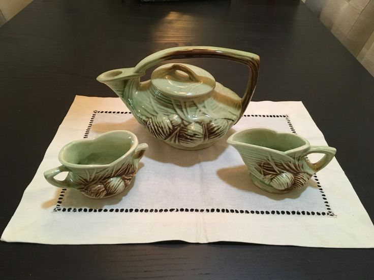 McCoy Pottery Pine Cone Tea Set (1946) by McCoyGarageSale on Etsy
