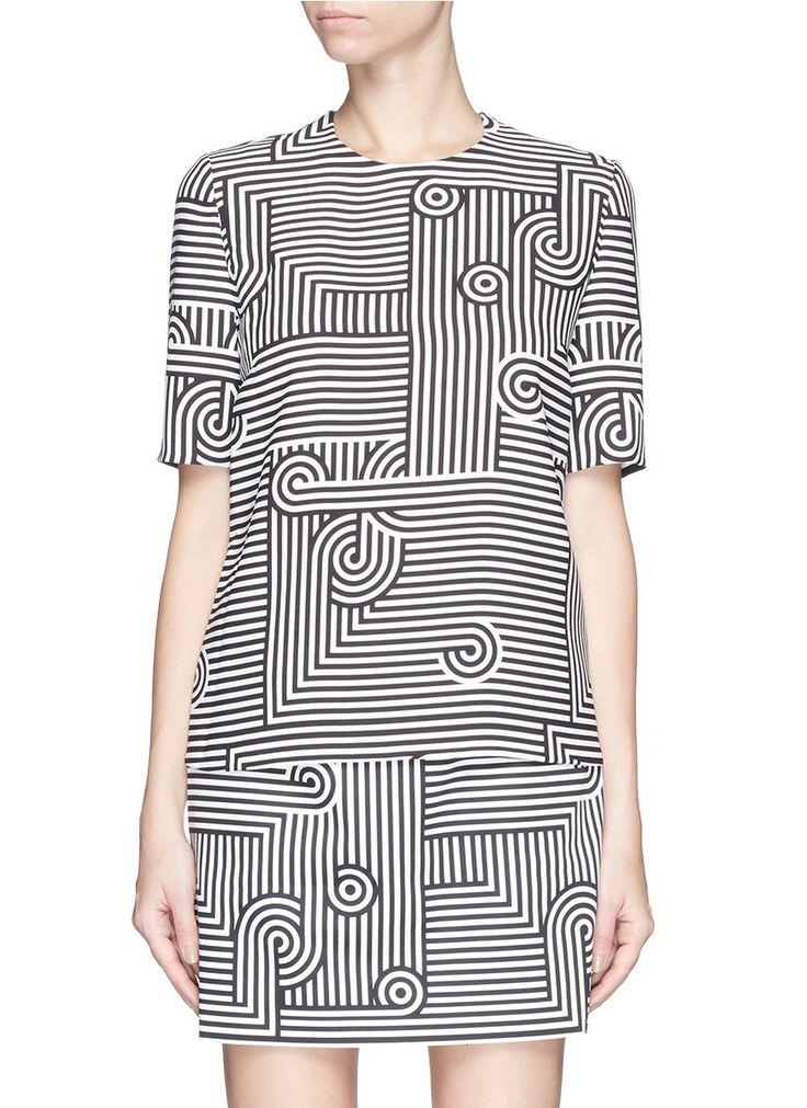 VICTORIA, VICTORIA BECKHAM - Geometric stripe print crepe top | Multi-colour Short Sleeve Tops | Womenswear | Lane Crawford - Shop Designer Brands Online