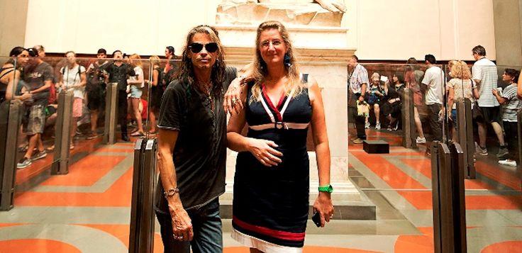 Aerosmith's leader Steven Tyler visited the Accademia Gallery