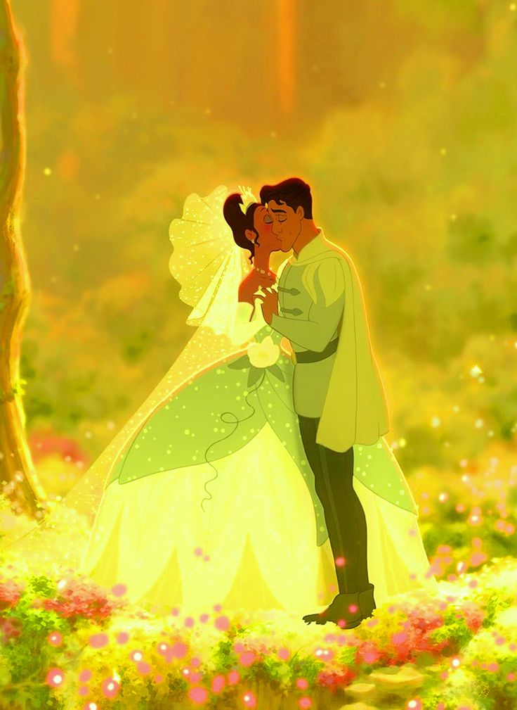 "Prince Naveen and his wife, Princess Tiana from ""The Princess and the Frog""<3"