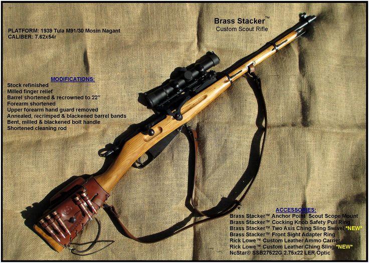 Brass Stacker Mosin Nagant M91/30 Custom Scout Rifle 1