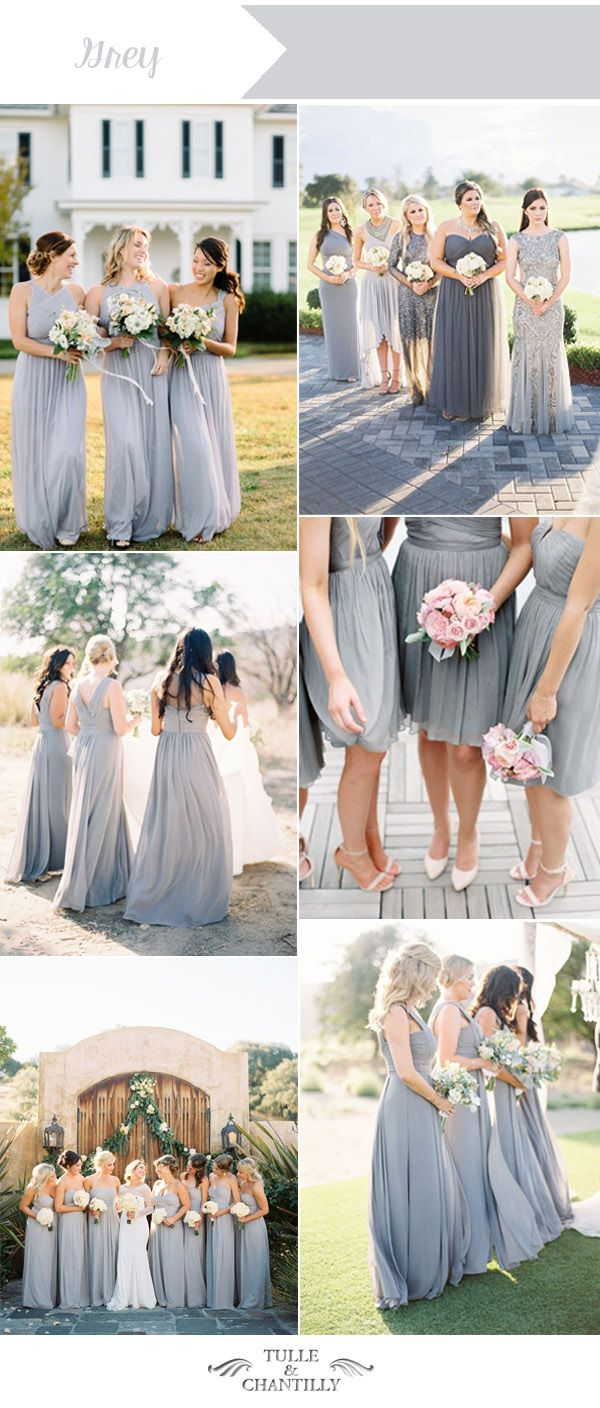 grey wedding color ideas for summer bridesmaid dresses                                                                                                                                                                                 More