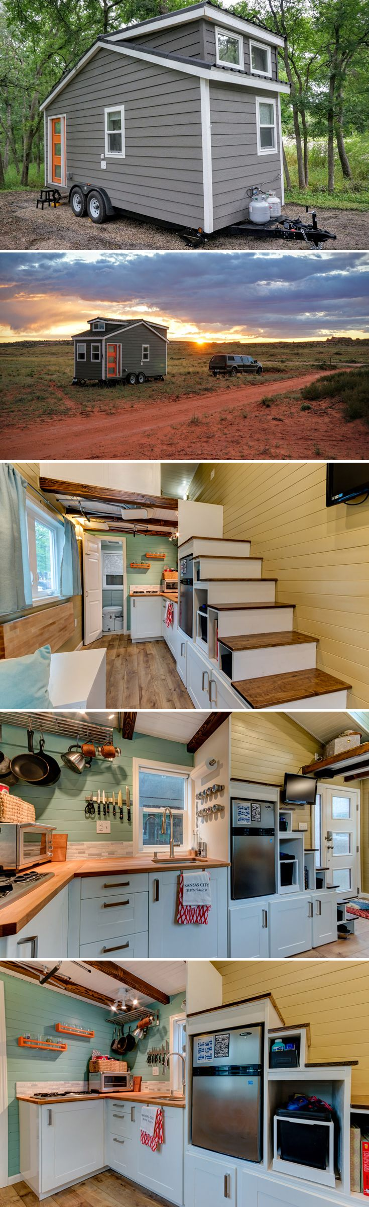 The Wanderlust is a 20' tiny house based on Tumbleweed Tiny House Company's Linden model. The owners bought it as a shell and finished it themselves.
