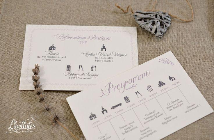 Programme de mariage Provence, mauve