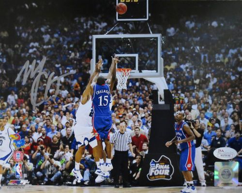 Mario Chalmers Autographed Kansas Jayhawks Basketball The Shot 8x10