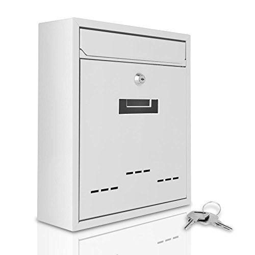 Serenelife Modern Wall Mount Lockable Mailbox - Outdoor Galvanized Metal Key Large Capacity - Commercial Rural Home Decorative & Office Business Parcel Box Packages Drop Slot Secure Lock SLMAB04 White #Serenelife #Modern #Wall #Mount #Lockable #Mailbox #Outdoor #Galvanized #Metal #Large #Capacity #Commercial #Rural #Home #Decorative #Office #Business #Parcel #Packages #Drop #Slot #Secure #Lock #SLMAB #White