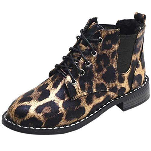 0af3673788f1 Trydoit Bottes à Lacets en Daim à La Mode Femmes Bottes Plates Simples en  Daim Décontractées Chaussures Léopard Bottes Femme Plates