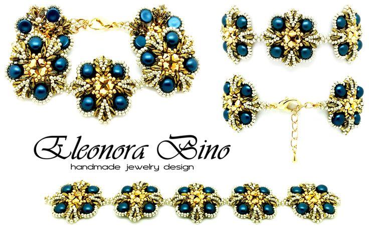Nome: Griss Colori: blu, oro, argento Materiali: perline da intreccio in vetro di Boemia, bicono Swarovski, perline di precisione di vetro giapponesi Completamente realizzato a mano da: Eleonora Bino Handmade Jewelry Design Schema modulo: Le gioie di Carmen