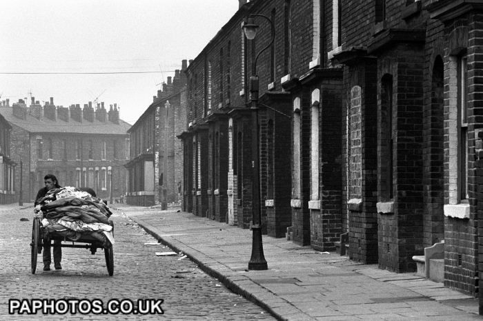 British Housing - Derelict and Slum Housing - Salford - 1974. The rag and bone man.