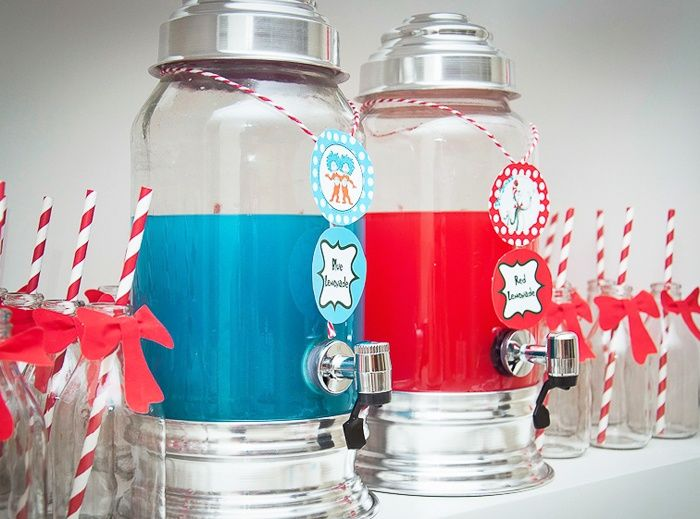 Drink: Red punch, blue punch (Hawaiian Punch in carbonated clear lemonade.) NEED: Empty 2L clear plastic bottles. Also NEED tea, milk, sugar.