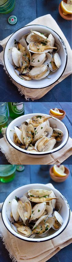 Garlic Butter Steamers – New England steamers (soft shell clams) with garlic herb butter. A 15-min recipe that is easy and delicious | rasamalaysia.com