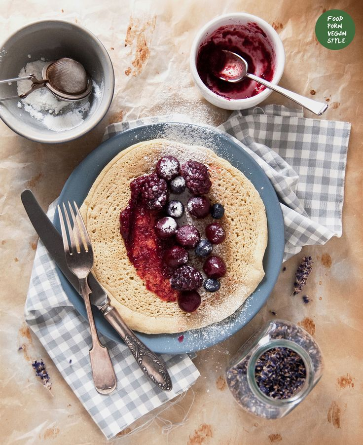 Millet crepes with cherry-lavender marmalade and mixed berries (vegan, gluten-free, refined sugar-free)