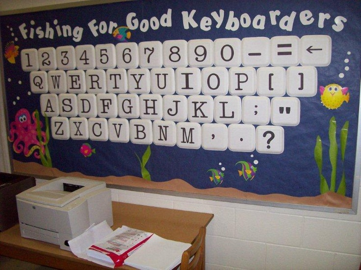 Fishing for Good Keyboarders bulletin board - used square paper plates upside down, printed letters from computer and glued them on, seaweed is laminated tissue paper cut in strips.