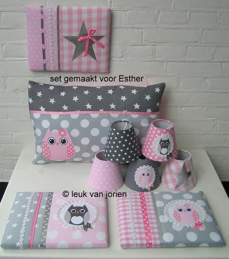 set uilen grijs roze gemaakt voor Esther