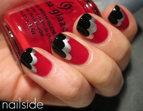 Curves: Black Silver Nails, Nails Art, Patterns Nails, Nails Design, Colors Design, Nails Ideas, French Tips, Dope Nails, Red Black