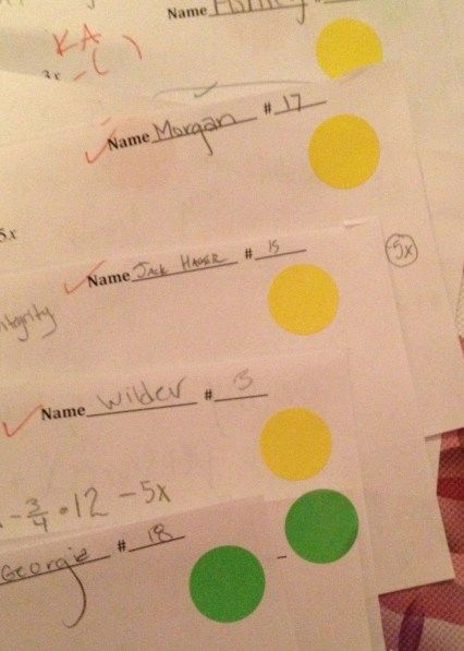 Student self assessment with stickers. Green=I did well Yellow=I did ok Red=Sos I need help