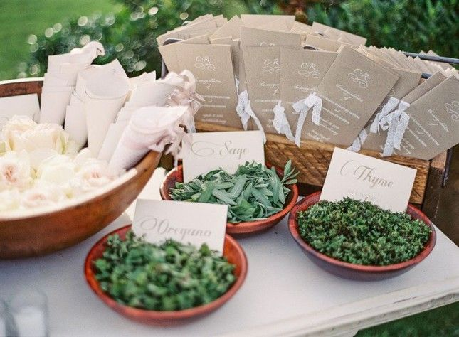 Throwing dried herbs for the send off? We have a ton of herbs from our garden so we could have them in little sacks or something ...