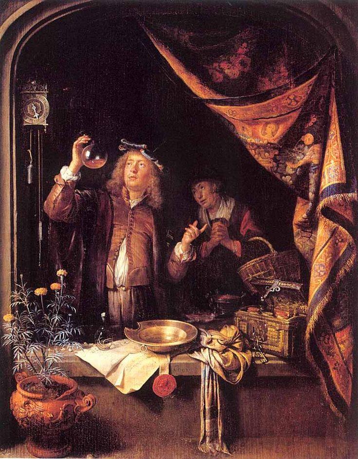 Gerrit Dou: een bezoek aan de dokter. ca. 1660-1665. Statens Museum for Kunst, Kopenhagen.