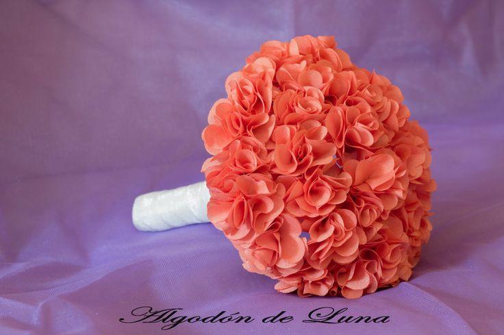 Ramo de Hortensia en coral  Hydrangea coral de tela Por siempre jamás a tu lado algodondeluna@gma... o *34606619349 #ramofloresdetela ramos de novia únicos y diferentes